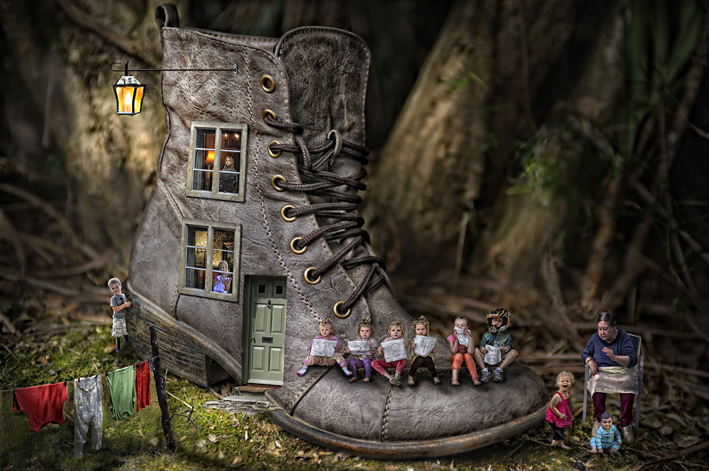 """2014 Creative Section """"Old Woman Who Lived In A  Boot"""" by Karen O'Connor: Awarded SSNEP Gold Medal"""