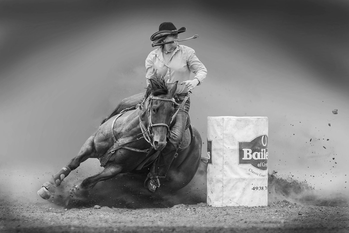 """2020 Open Monochrome Section """"Barrel Racer"""" by Arthur Roy: Awarded APS Silver Medal"""